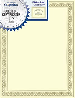 Geographics Flourish Premium Certificates (Gold Foil),8.5 x 11, 12/Pack (45492)