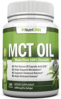 MCT Oil - 3000mg Per Serving - 180 Softgels - Made From 100% Organic Coconuts - Non GMO, Cold Pressed, Paleo Friendly Caps...