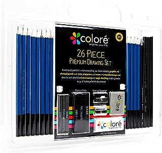 """Juego de 26 Lápices """"Colore"""" – Para Dibujos y Esbozos Artísticos – Con Ceras de Colores de Carboncillo y Grafito – Borradores y Sacapuntas, Ideales para la Escuela y para Artistas Profesionales"""