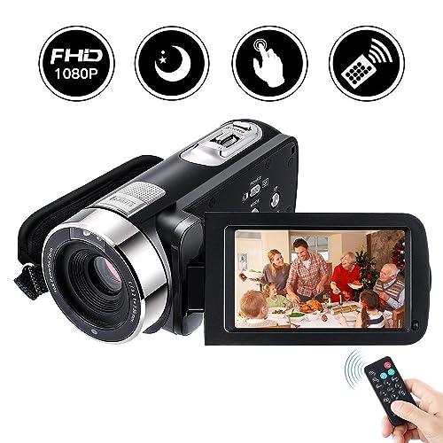 Videocámara digital Full HD de alta definición, Footprintse FULL HD 5.0M HD Pantalla táctil CMOS Sensor digital de 3.0 pulgadas 24.0 MP (270 ° rotatoria lente de gran angular+ multi-idioma+ medios de telecomu (HDV-301STR)