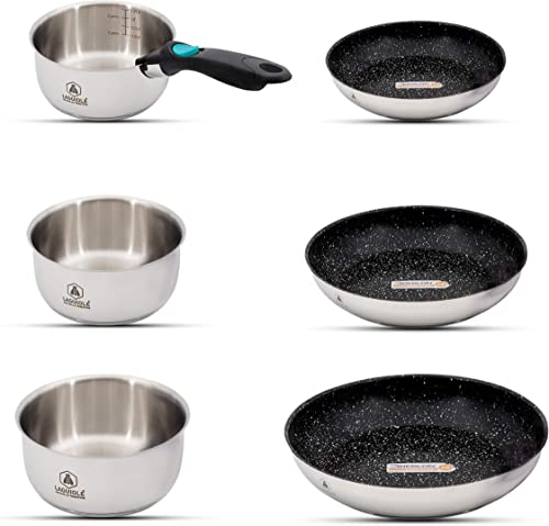 new arrival Laguiole 7-Piece Healthy discount Nonstick Stainless Steel Cookware Set, Greblon Coating high quality Frying Pans, Handle online sale