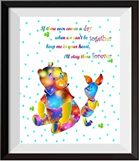 Uhomate Nursery Decor Winnie The Pooh Quotes Winnie the Pooh Baby Home Canvas Prints Wall Art Anniversary Gifts Baby Gift Inspirational Quotes Wall Decor Living Room Bedroom Artwork C081 (8X10)
