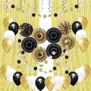 Decorlife Black and Gold Decorations, 2PCS 2.9 x 7.8ft Gold Foil Curtains, Lanterns, Glitter Circle Dots Garlands, Hanging...
