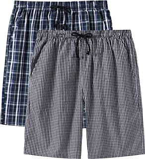 Men's Pajama Shorts Cotton Sleep Short Pockets Sleep Bottoms Plaid Lounge Shorts