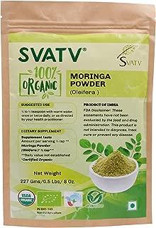 SVATV Organic Moringa Powder(Moringa Oleifera Leaf Powder)1/2 LB, 08 oz, 227g USDA Certified Organic :: Resealable Zip Lock Pouch