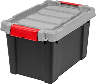 IRIS USA, Inc. SIA-5 IRIS Store-It-All Tote 5 Gallon, 4 Pack, Black/Red Buckle