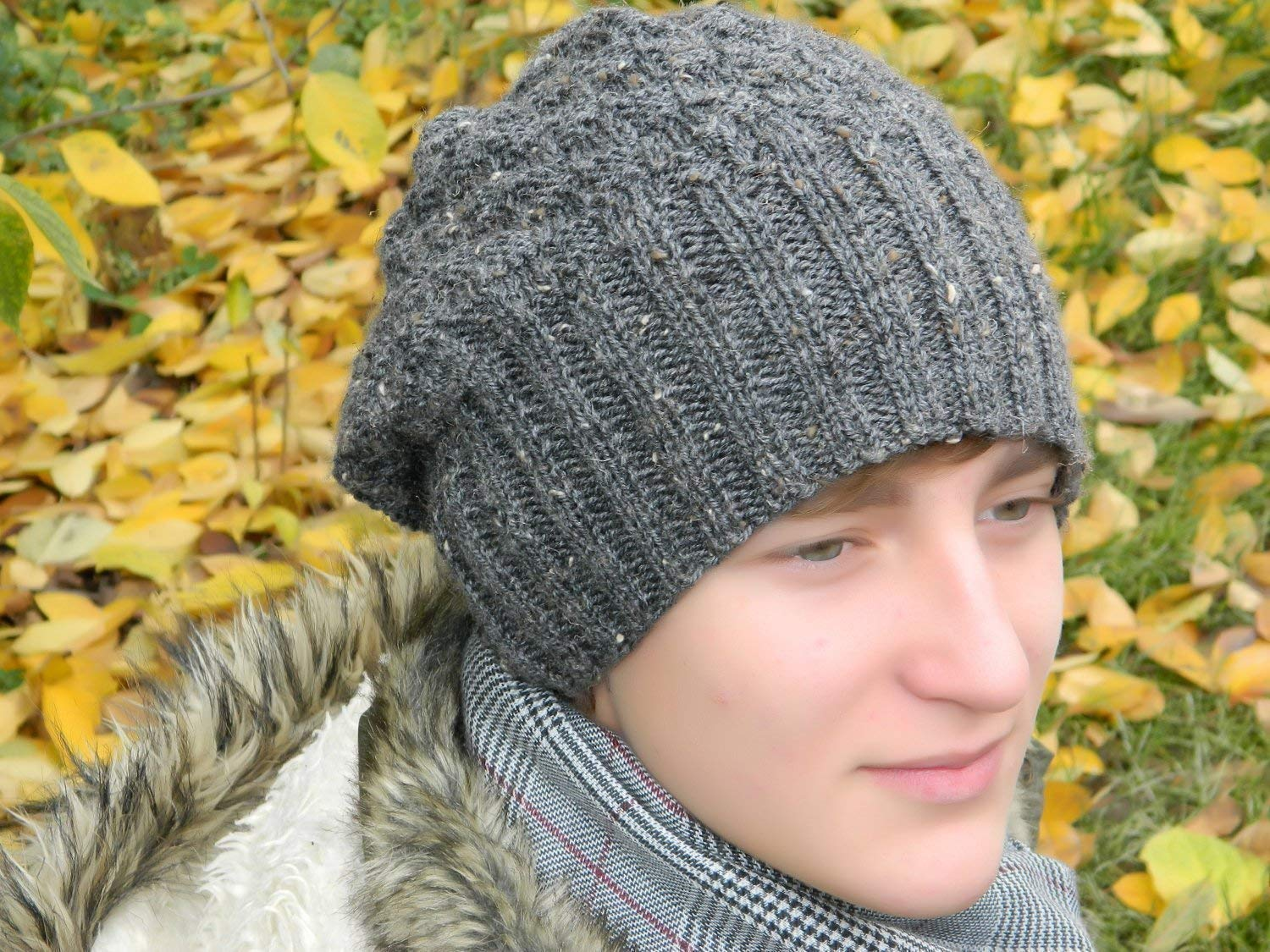 Men Slouchy online shopping Hat Mens Knitted Beanie Fall Hippie Nashville-Davidson Mall Wool Slouch Gray
