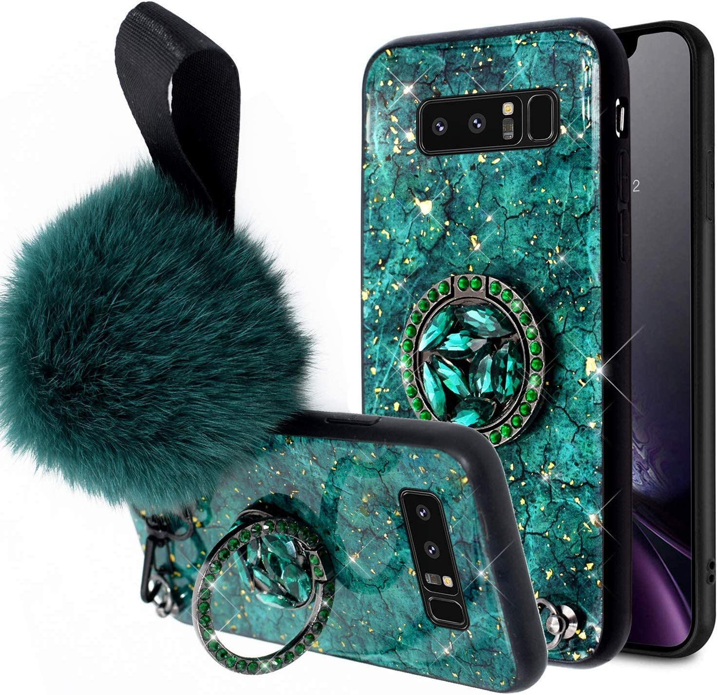 Aulzaju Galaxy S10 Bing Diamond Case Marble Design Samsung S10 Cute Case with Ring Stand S10 Glitter Hard Hybrid Protective Phone Case for Women S10 Case with Soft Funny Furry Ball Wrist Strap-Green