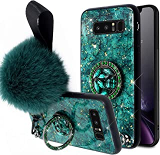 Aulzaju Samsung Note 8 Fur Ball Case with Bling Ring Stand, Galaxy Note 8 Luxury Shiny Marble Style Shockproof Hybrid Hard Fashion Case for Samsung Note 8 for Girls Women-Green