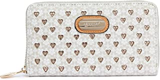 Brangio Italy Collections | Double Layer Engraved Crystal Multipocket Zippered Fan Wallet | RLW8368 (Ivory)