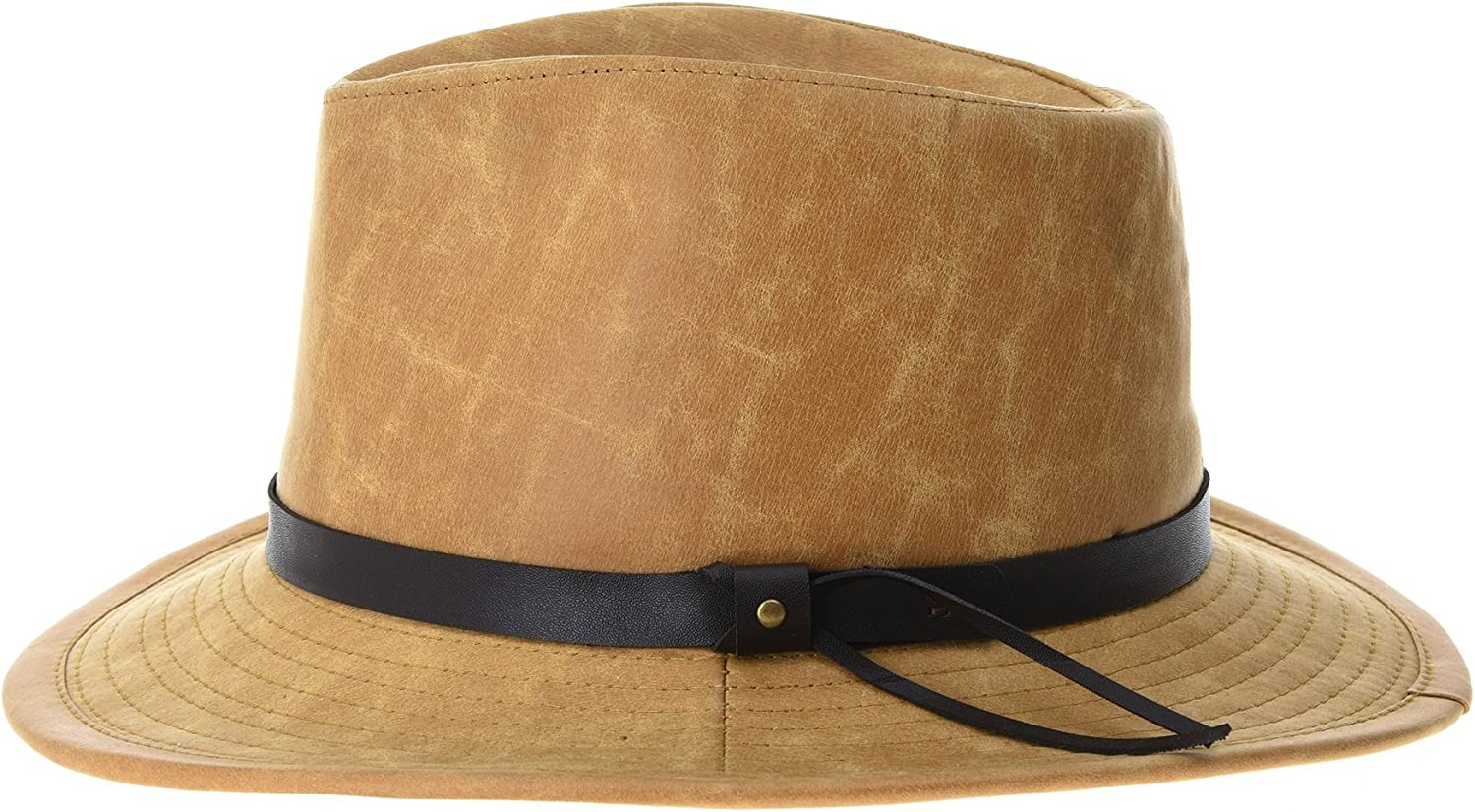 WITHMOONS Indiana Jones Hat Weathered Faux Leather Outback Hat GN8748