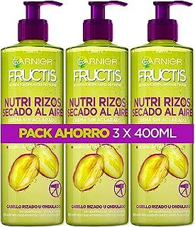 Garnier Fructis - Nutri Rizos Secado al Aire Crema Sin Aclarado para Pelo Rizado u Ondulado – 3 Unidades x 400 ml