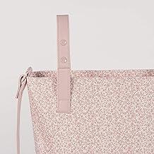 Bolso Panera FLOWER MELLOW color rosa. Polipiel con estampado de flores. Asa larga y cortas.
