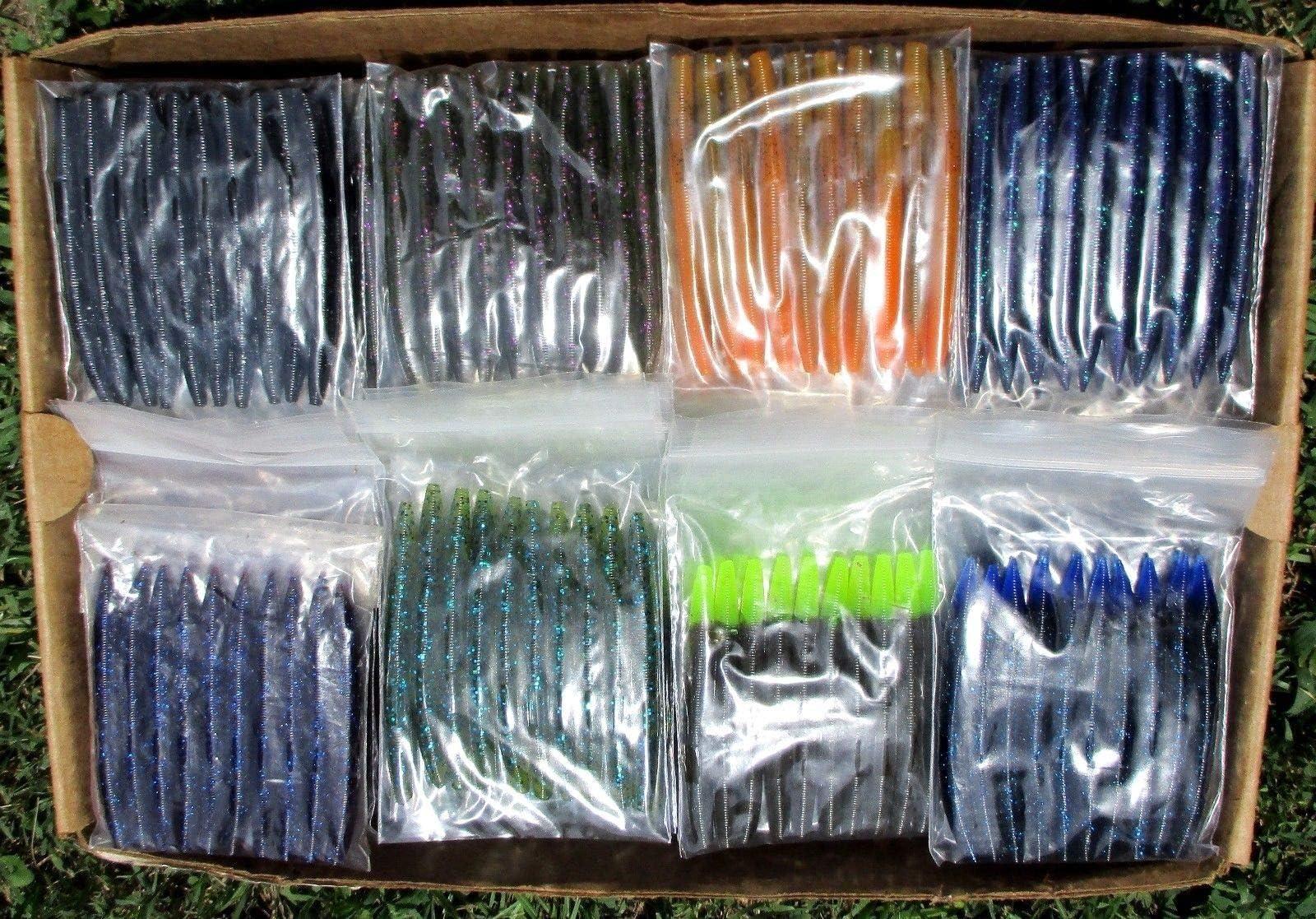 "5/"" Stick Senko Style Junebug 100 count bag bulk Bass Plastics Worms"