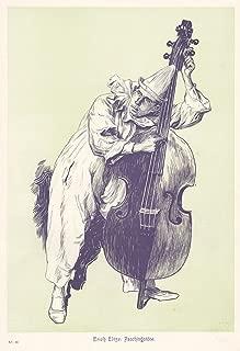 Past Time Ads c1900 Art Print Faschings Ball Clown Pierrot Playing Viola String Instrument Music by Eich Eltze - Original Magazine Print