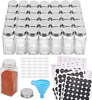 Aozita 48 Pcs Glass Spice Jars/Bottles - 4oz Empty Square Spice Containers with 612 Spice Labels - Shaker Lids and Airtight Metal Caps - Silicone Collapsible Funnel Included