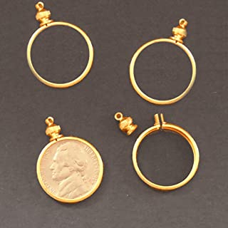 Coin Holder Bezel for 5 Cent/USA Nickel Goldtone ~ for Charm, Necklace, Pendant, Display (Pack of 4)