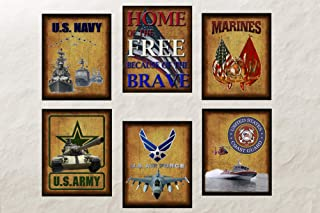 Military 6 Pack - Digital Art Prints 8x10 Tribute to Army, Air Force, Navy, Marines & Coast Guard. Unframed Frame and matting are for presentation purposes only to show you how they can look.