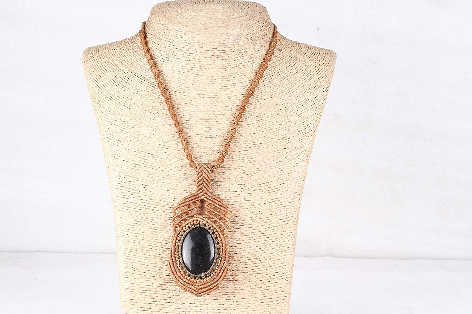 Handmade Macrame Spring new work Necklace Chick Jewelry Max 81% OFF Ston Pendant Chrysocolla