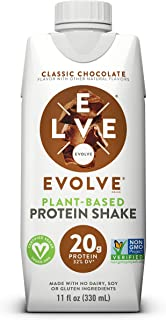 Sponsored Ad - Evolve Protein Shake, Classic Chocolate, 20g Protein, 11 Fl Oz, Pack of 12