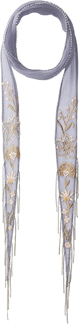 Embroidered Summer Nights Floral Long Skinny Scarf