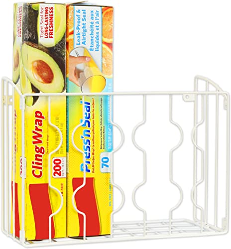new arrival SimpleHouseware Wall Door Mount outlet online sale 2021 Kitchen Wrap Organizer Rack, White online sale
