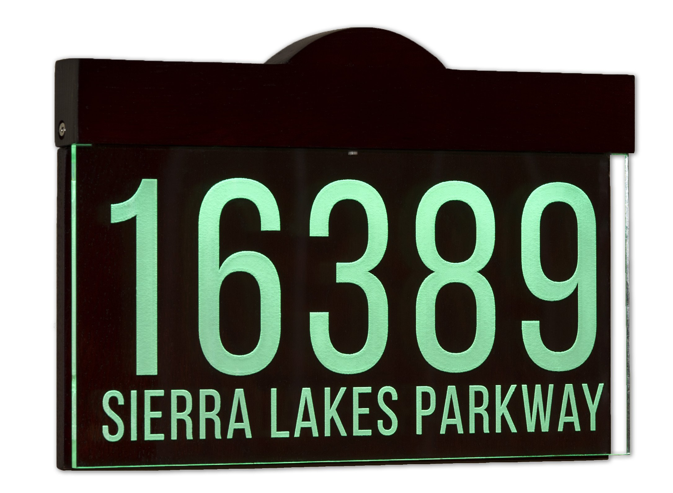 12 16 V Ac Auto On Off Custom Illuminated House Numbers Address Sign Address Plaque Lighted With Led Laser Engraved On Acrylic Sign With Wood Frame Garden Outdoor