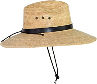 Rising Phoenix Industries Large Mexican Palm Leaf Straw Panama Safari Cowboy Hat for Men, Adjustable Chin Strap, Flex-Fit (Faux Leather Hatband)
