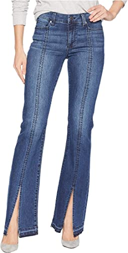 Lucy Boot Split Stitch in Super Comfort Stretch Denim Jeans in Montauk Mid Blue