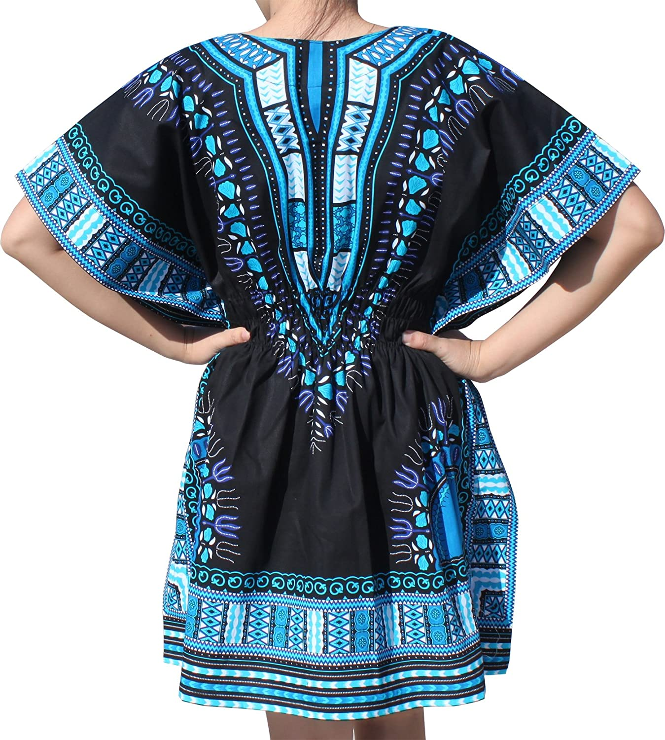 RaanPahMuang Ladies Black Dashiki Shirt Elastic Pull In Waist VCollar, Medium, Sky bluee