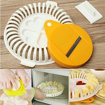 AMOYER Bricolage Pratique Micro-Ondes Chips de Pommes de Terre /à la Main Saine Appareil Crisp Slicer