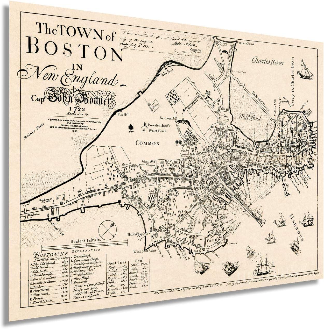 Super popular specialty store Historix Vintage 1722 Map of Boston Massachusetts 18 Inch Max 65% OFF 24 x -