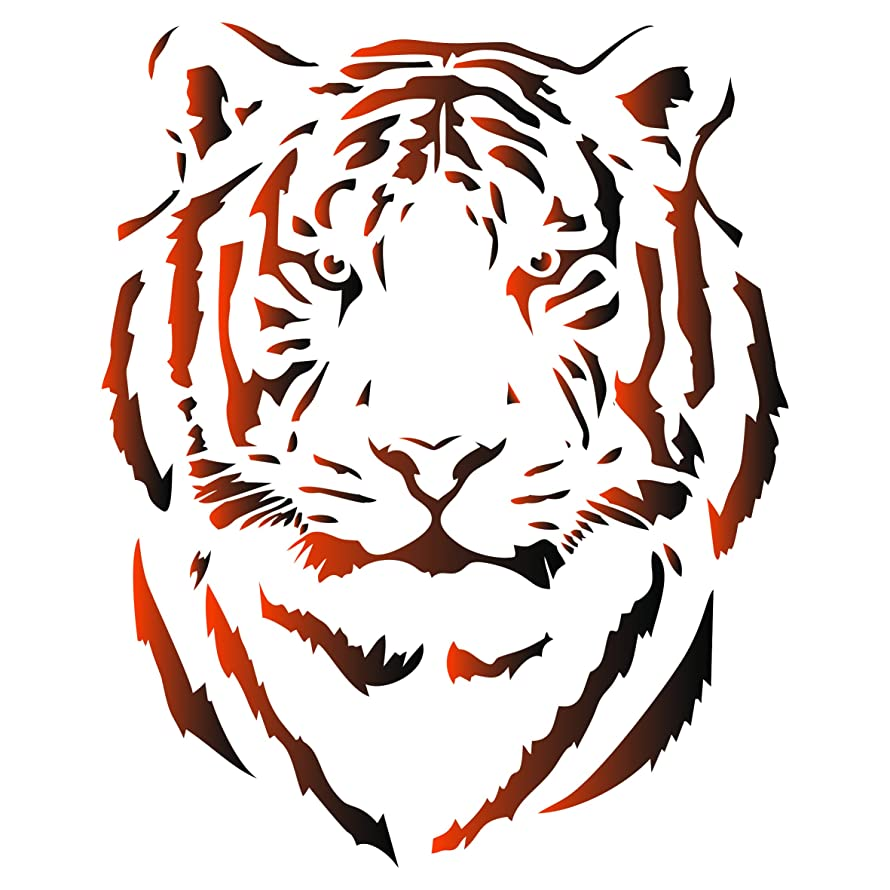 Tiger Head Stencil - 10 x 12.5 inch (M) - Reusable African Big Cat Animal Wildlife Stencils for Painting - Use on Paper Projects Scrapbook Journal Walls Floors Fabric Furniture Glass Wood etc.