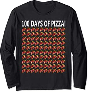 100th Day Of School Shirt Funny 100 Pizza Gift Student Girl Long Sleeve T-Shirt