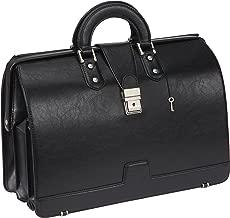 Ronts PU Leather Briefcase for Men Lawyer Doctor Bag Attache Case Business Handbags Medical Bag with Lock 15.6 Inch Laptop Litigation Medical Bag Black