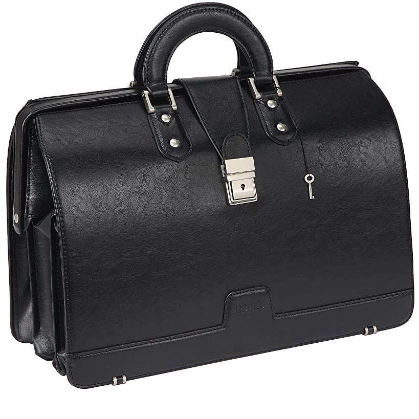 Ronts Mens PU Leather Briefcase Lawyer Attache Case with Lock Business Handbags Attorney Bag 15.6 Inch Laptop Bag Black