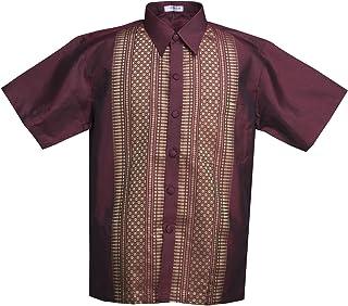 LOFBAZ Men's Thai Silk Blend Mandarin Straight Collar Casual Short Sleeve Shirts