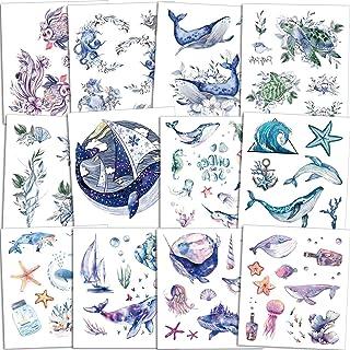Qpout 120 Stück Ozean Tiere Temporäre Tätowierungen für