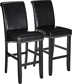 Christopher Knight Home 238545 Clifton Black Leather Bar Stools w/Chrome Nailheads (Set of 2)