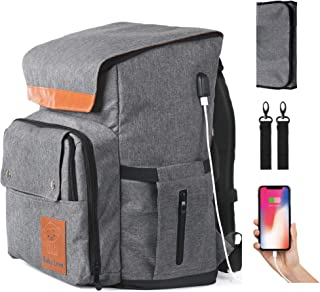 Large Diaper Bag Backpack - For Moms with Twins or Multiple Little Ones - Spacious Baby Travel Bag Includes Stroller Straps, Insulated Pockets, USB Charging Port and Changing Pad