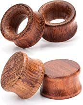 CABBE KALLO 2Pair Natural Wood Ear Tunnels and Plugs Vintage Brown Wooden Ear Stretcher Gauges