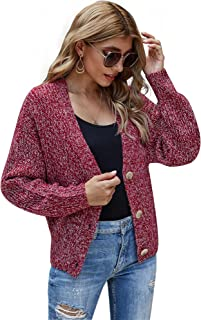Woolicity Women's V Neck Cardigan Sweater Button Down Cable Knit Tops Long Sleeve Warm Soft Chunky Outwear