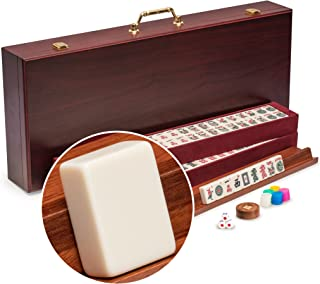 Yellow Mountain Imports American Mahjong Set, The Classic with Vintage Rosewood Veneer Case - Four Wooden Racks, Wind Indicator, Dice, & Wright Patterson Counting Coins
