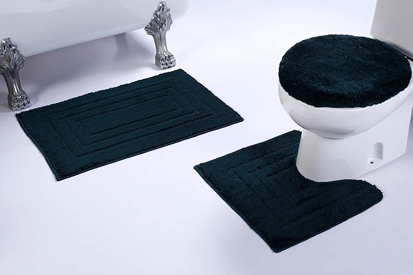 Fancy Linen 3pc Non-Slip Bath Mat Set with Rectangle Pattern Solid Hunter Green Bathroom U-Shaped Contour Rug, Mat and Toilet Lid Cover New # Bath 66