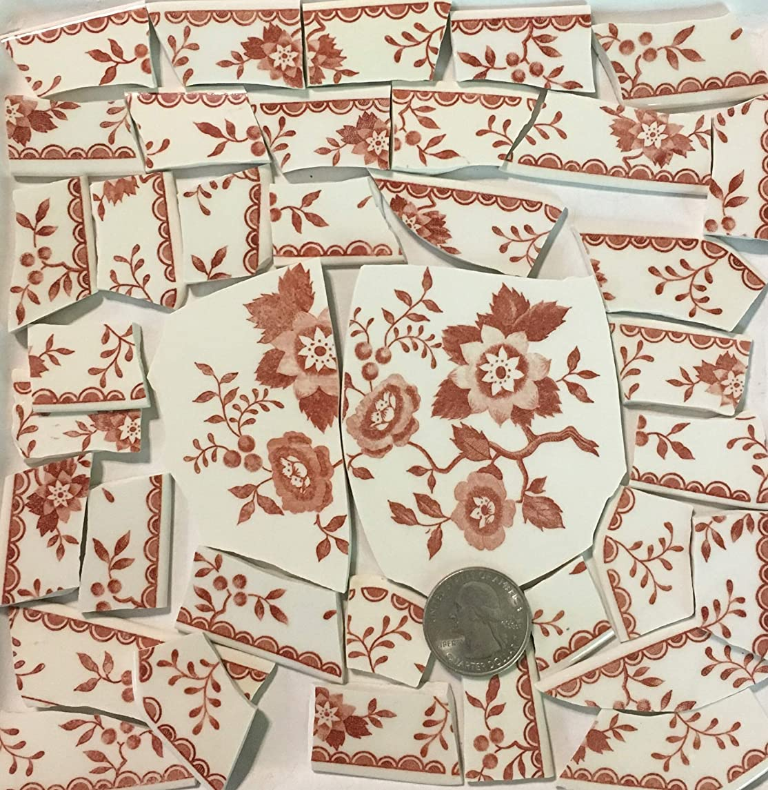 Mosaic Art & Crafts Supply ~ Red & White Floral Transferware w/ 2 Center Tiles (B911)