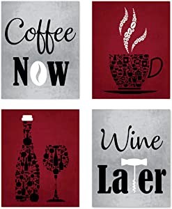 Red Wine Grey White Mosaic Vintage Inspirational Kitchen Restaurant Cafe Bar Dining Room Wall Art Decorations Gifts for Wine Drinkers Coffee Now Wine Later Prints Posters Signs Sets Rustic Farmhouse Country Boho Home House Decor Funny Sayings Quotes