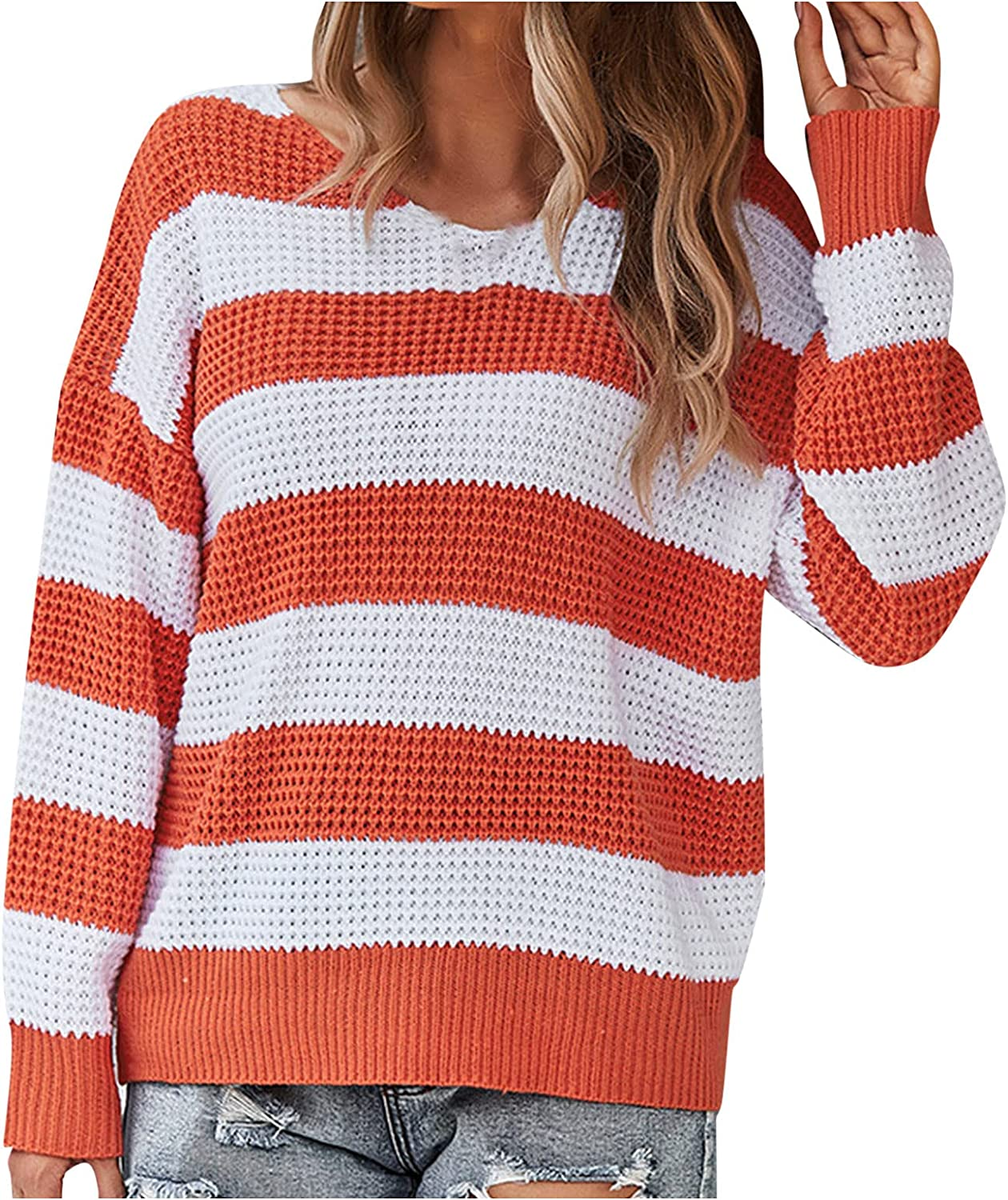 RUIY Women's Fall Striped Color Block Sweateres, Long Sleeve Crew Neck Loose Oversized Knitted Jumper Tops Pullover Sweater