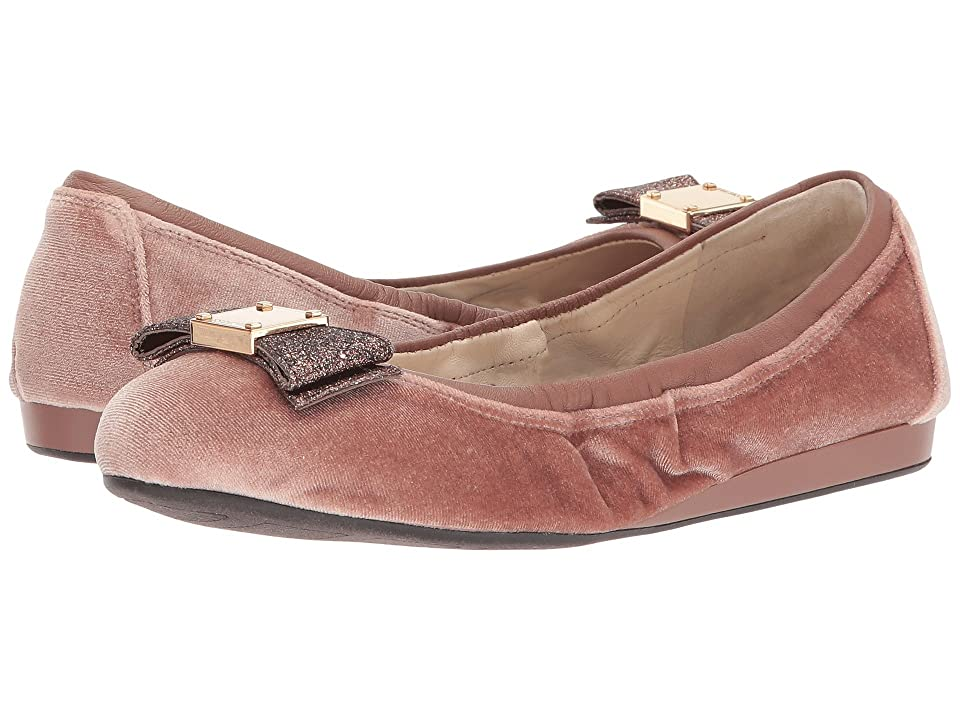 Cole Haan Tali Bow Ballet (Nude Velvet/Glitter) Women's Slip on Shoes, Beige