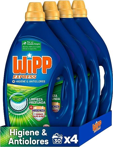 Wipp Express Detergente Líquido Higiene & Anti Olores para lavadora 30 Lavados - Pack de 4, Total: 120 Lavados