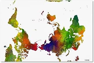 Upside Down Map of the World Clr 1 by Marlene Watson, 22x32-Inch Canvas Wall Art